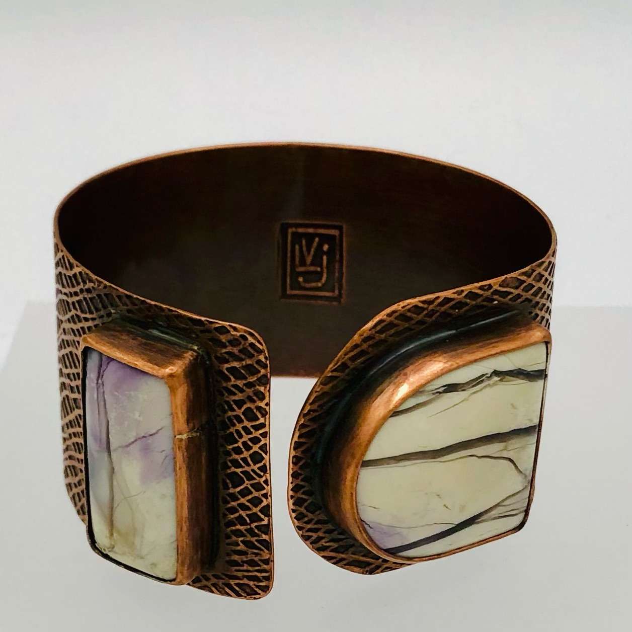 THREADS- cuff Hand-etched copper Tiffany Stone cabochons  165-
