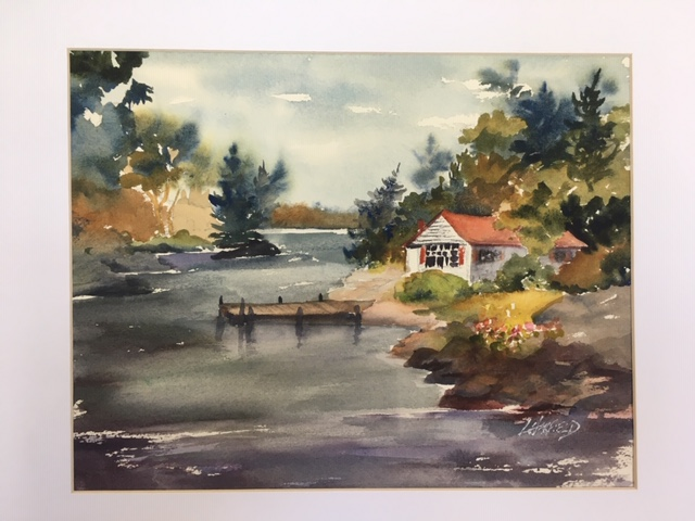 Manitoulin Secluded Cabin on Quiet Bay 11 x 14 watercolour (matted 16 x 20)