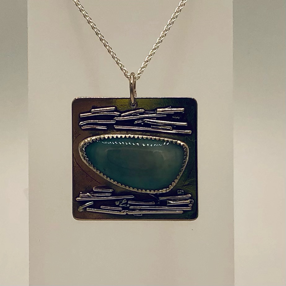 FIRE & ICE- Sterling Silver pendant and chain   Australian Opal 130-