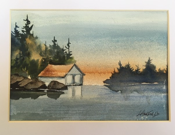 The Old Boathouse on Manitou 5 x 7 watercolour (matted 8 x 10)