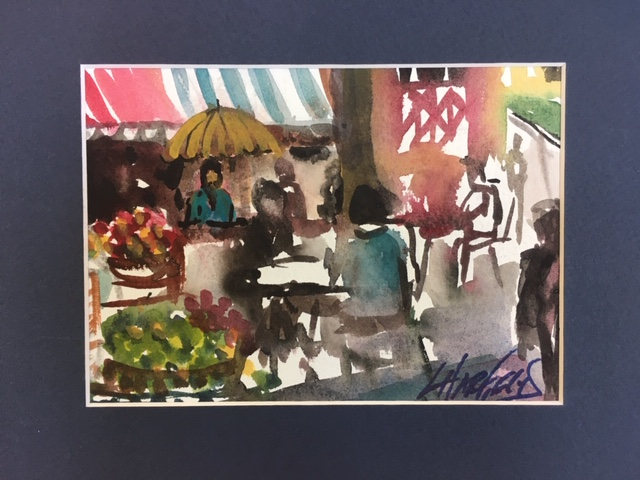 French Cafe  5 x 7 watercolour (matted 8 x 10)