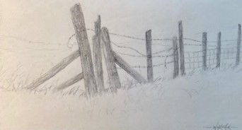 THE FENCE  5.75 x 9.5 pencil
