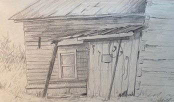 THE OLD CABIN  5.5 x 9.75 pencil