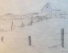 CHELMSFORD WINTER  7 x 9 pencil