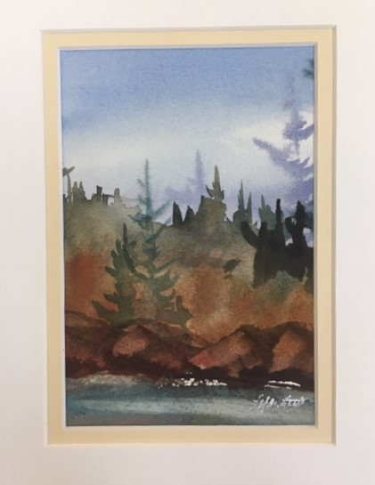 Cedars and Pines 7 x 5 watercolour (matted 10 x 8)