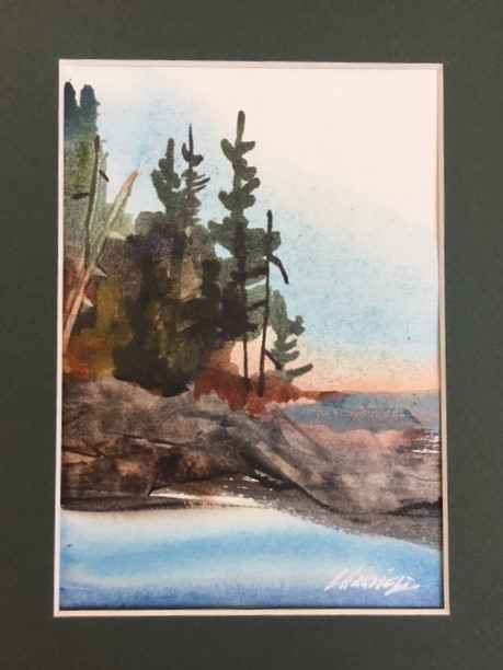 Where You Can Hear the Loons 7 x 5 watercolour (matted 10 x 8)