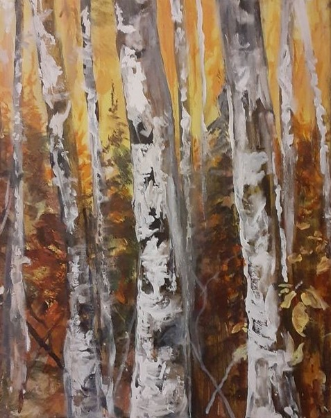 LAND OF THE SILVER BIRCH 22.5 x 18 acrylic by Roy Madahbee