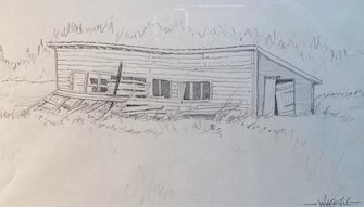 OLD CHICKEN HOUSE  5.5 x 9.5 pencil
