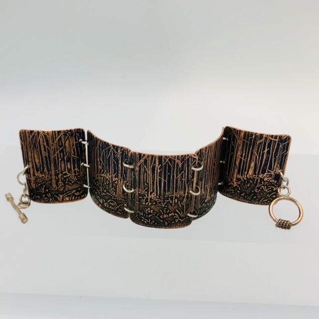 NIGHT WOODS - articulated bracelet Hand-etched copper Sterling Silver findings 90-