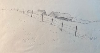 FARM ON THE HILL  5.5 x 10 pencil