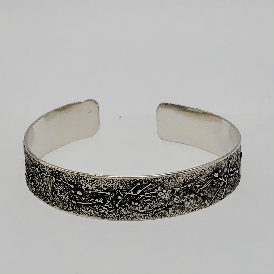 FROST - Sterling Silver bangle reticulated 100-