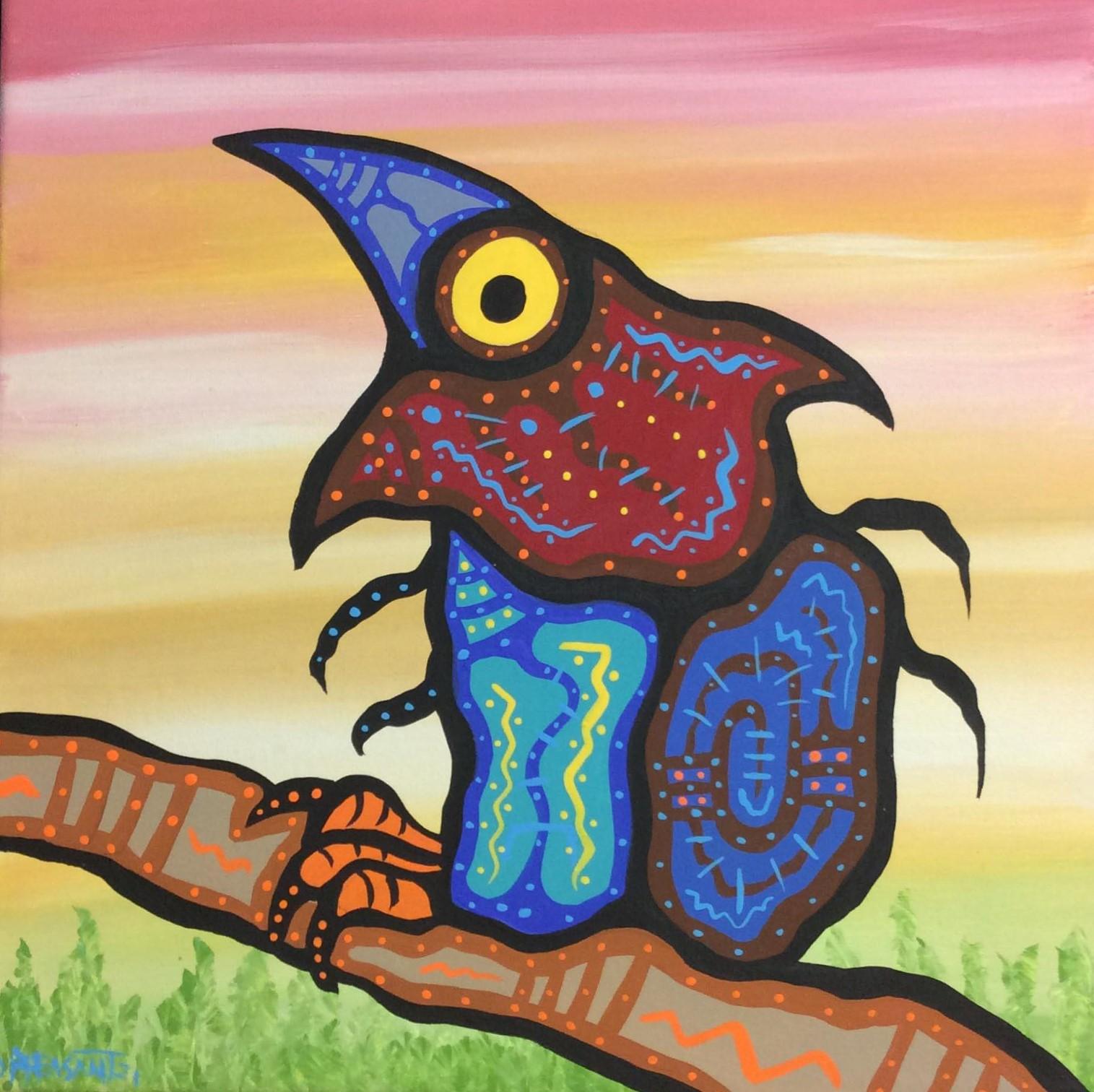 ALONE BIRD 12 x 12 acrylic