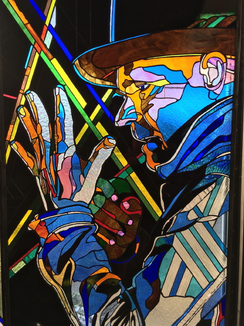 """GORD DOWNIE "" 41 x 25   inches stained glass"