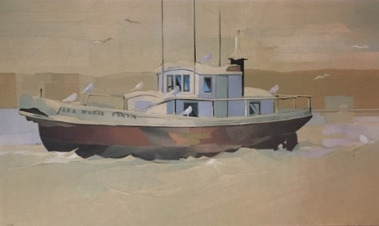 Winter Boat Purvis  12 x 19.5  ( 20.5 x 28.5) collage