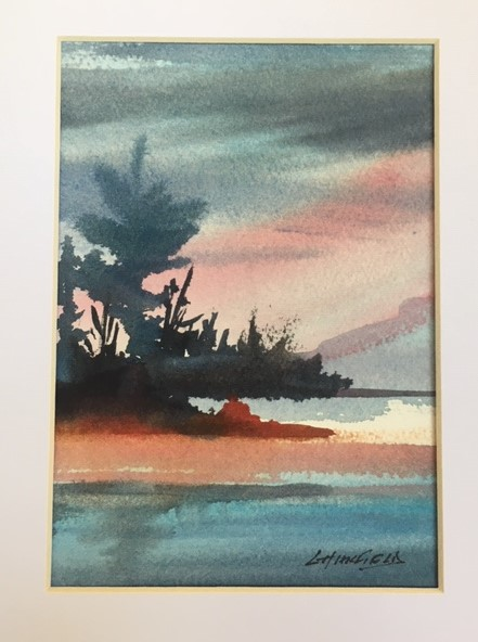 Pink Reflections 7 x 5 watercolour (matted 10 x 8)