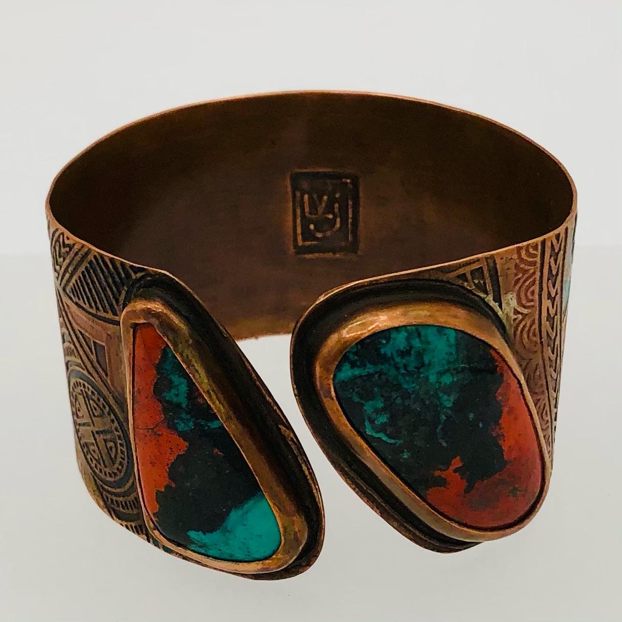 SEDONA SUNRISE - cuff. Hand-etched copper, Sedona Sunrise cabochons  175-