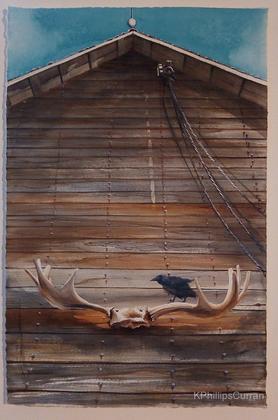 Antler Barn with Crow