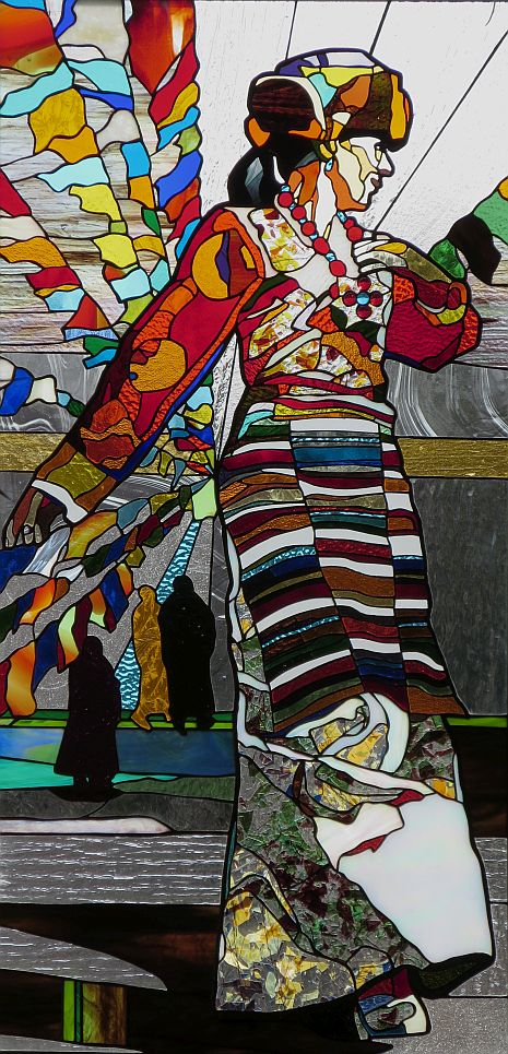 CELEBRATION DANCE  49 X 24  inches stained glass