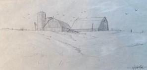 FARM AT MOONSTONE 4.5 x 9.25 pencil