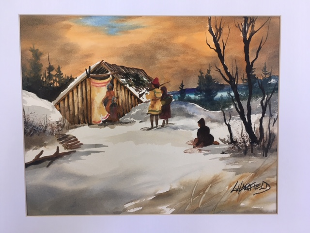 Christmas Visit 11 x 14 watercolour (matted 16 x 20)