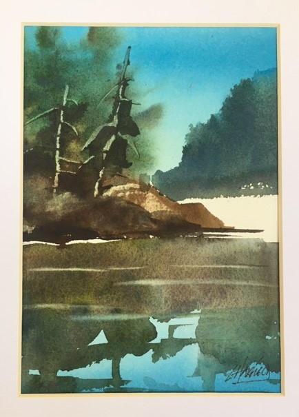 Dark Waters Hide Big Fish 7 x 5 watercolour (matted 10 x 8)