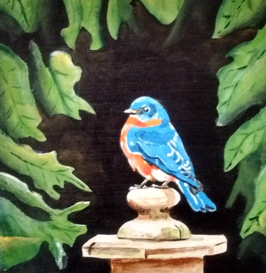 FENCE POST BLUEBIRD   5 x 5  acrylic