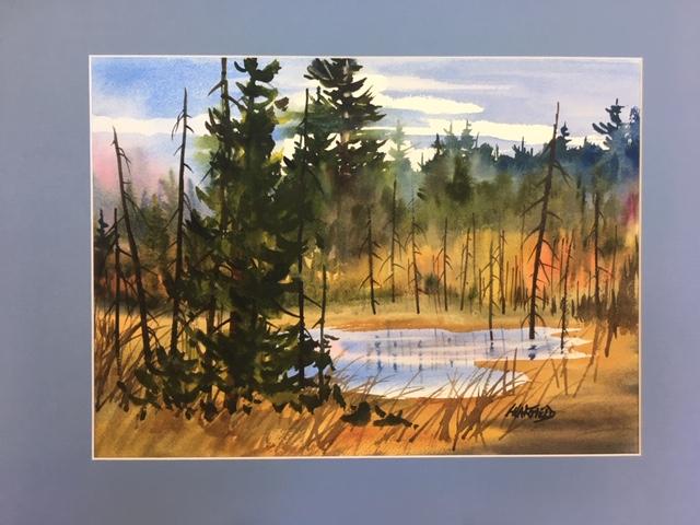 Sheguiandah Roadside Wetland 11 x 14 watercolour (matted 16 x 20)