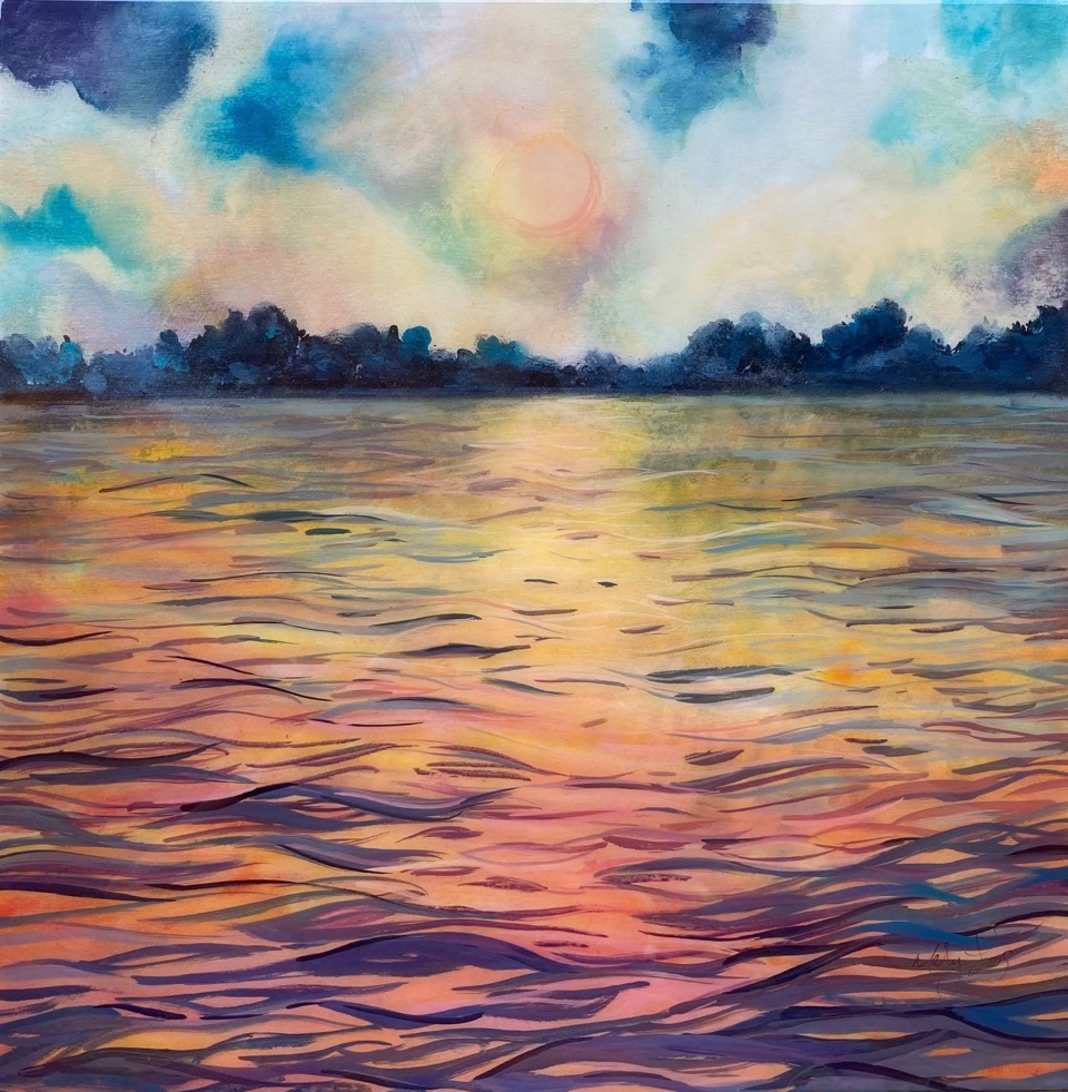 GENTLE RIVER BREEZE 20 x 20 mixed media by Mary Loos