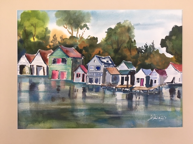 All in a Row Boathouses 11 x 14 watercolour (matted 16 x 20)