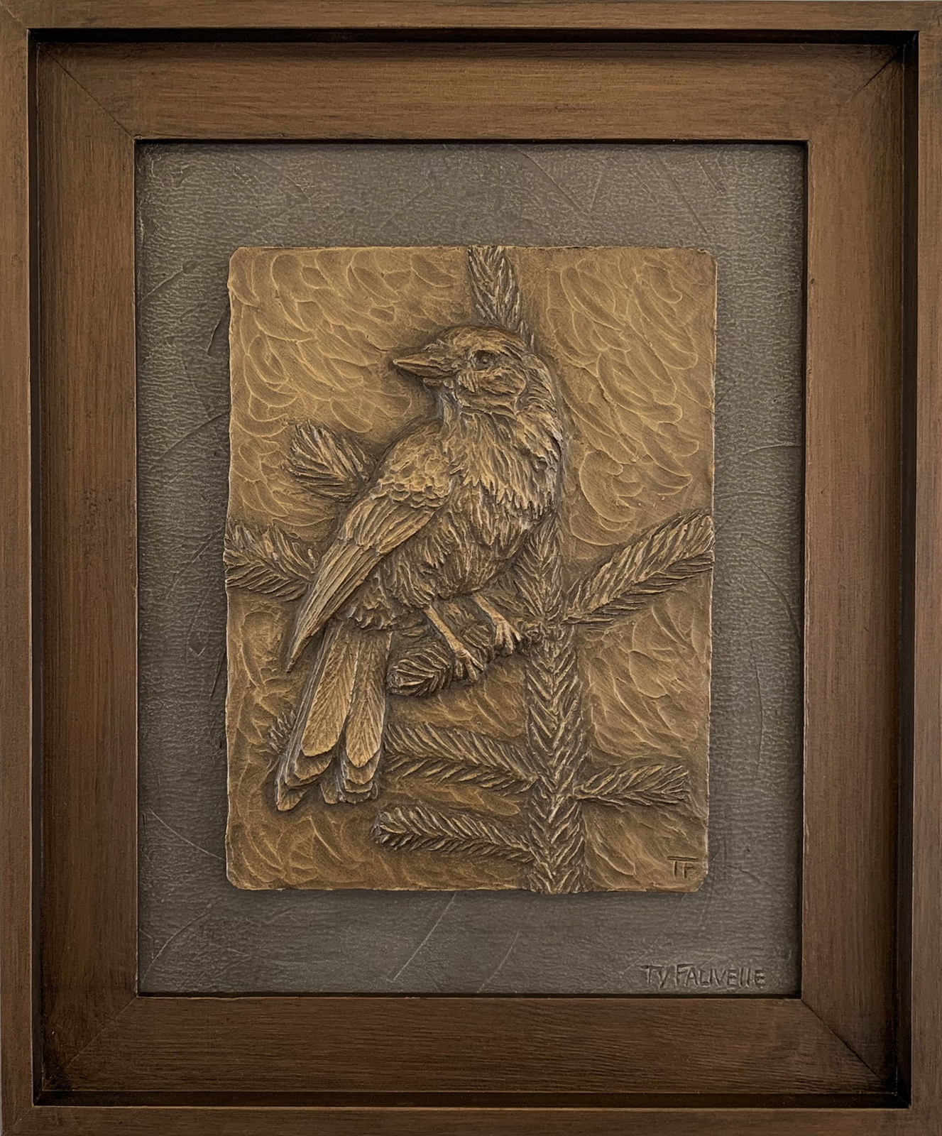 Whisky Jack_17.25 x 14.5 framed Metal Infused_sculptural relief