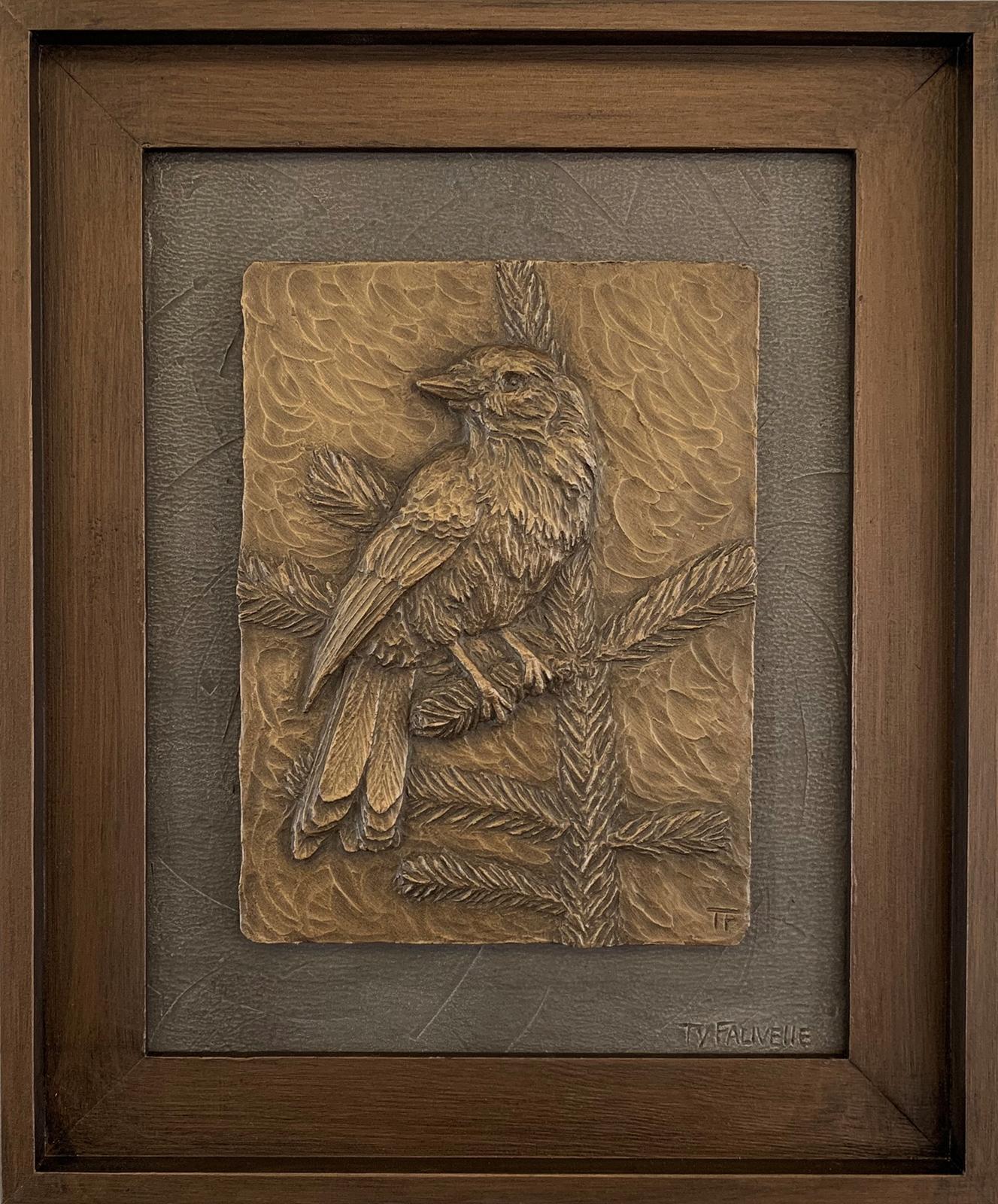 WHISKY JACK  17.25 x 14.5 framed Metal Infused_sculptural relief
