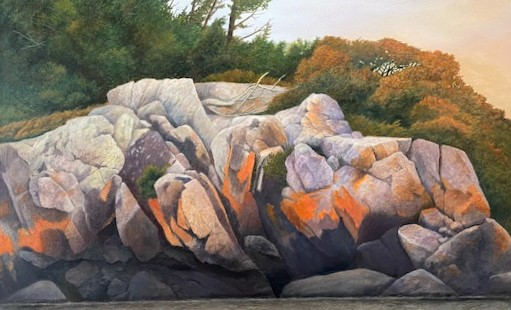 LICHEN IN McGREGOR  22 x 36 oil  by Ivan Wheale 3rd Place Winner of the People's Choice Award