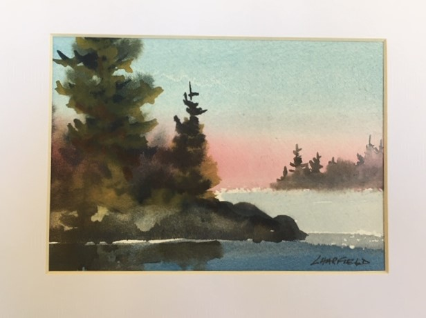 Another Pretty Sunset on Manitoulin 5 x 7 watercolour (matted 8 x 10)