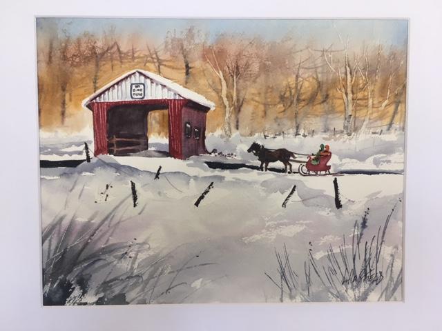 Jingle Bells 11 x 14 watercolour (matted 16 x 20)