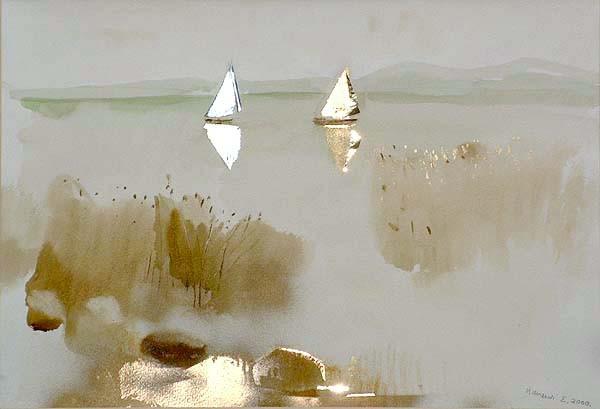 """""""Zwei Segelschiffe"""" von Erzsébet Udvardi (c) Anna Udvardi"""