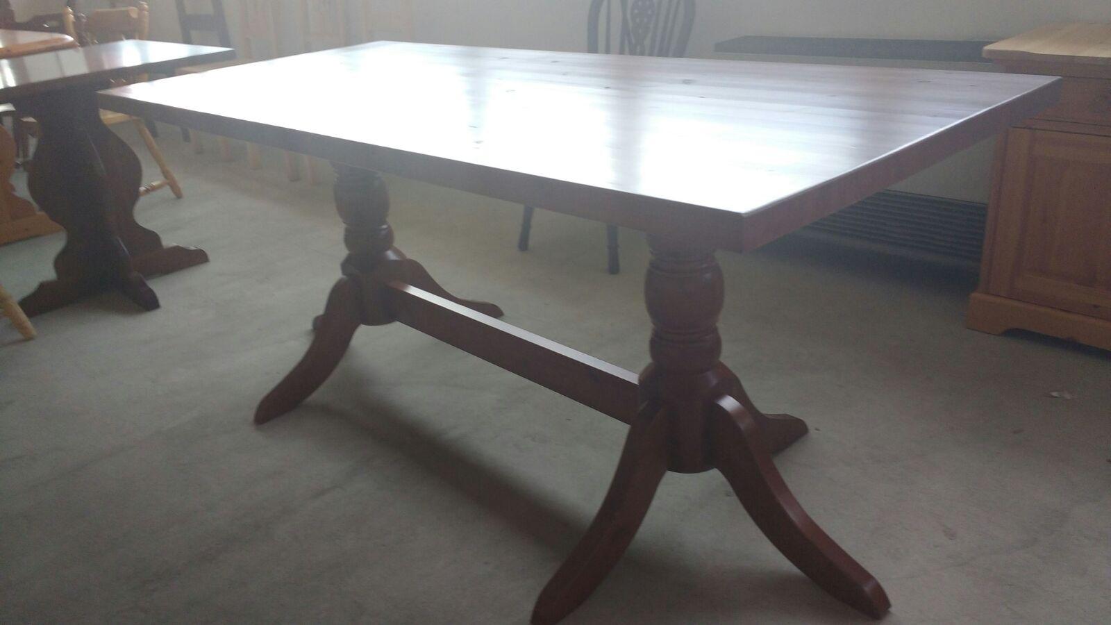 art b6ts 190x90x4 tavolo in pino tinta noce gamba centrale tornita