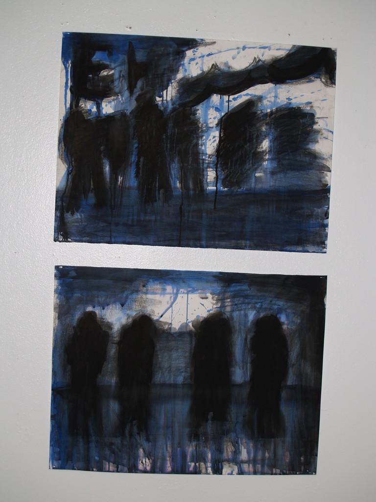 Abstract vluchtigheid (houtskool, ecoline, oost indische inkt op wit papier)