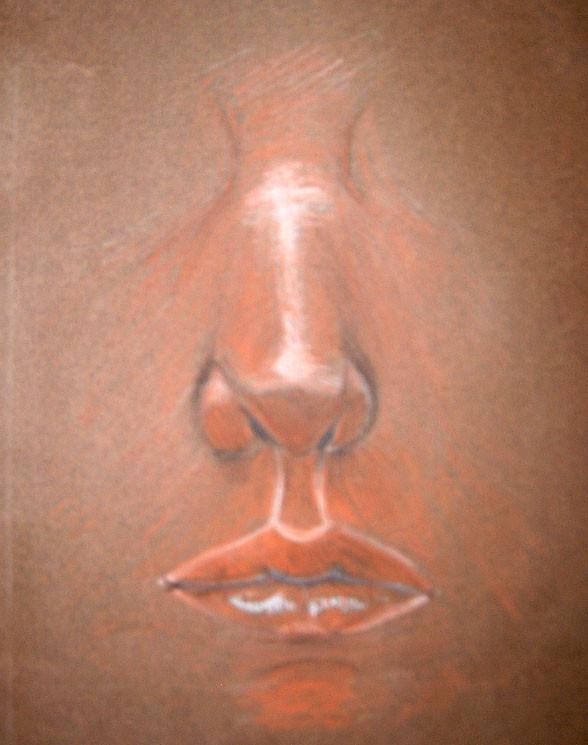 Neus en mond (comptépotloden op bruin papier)