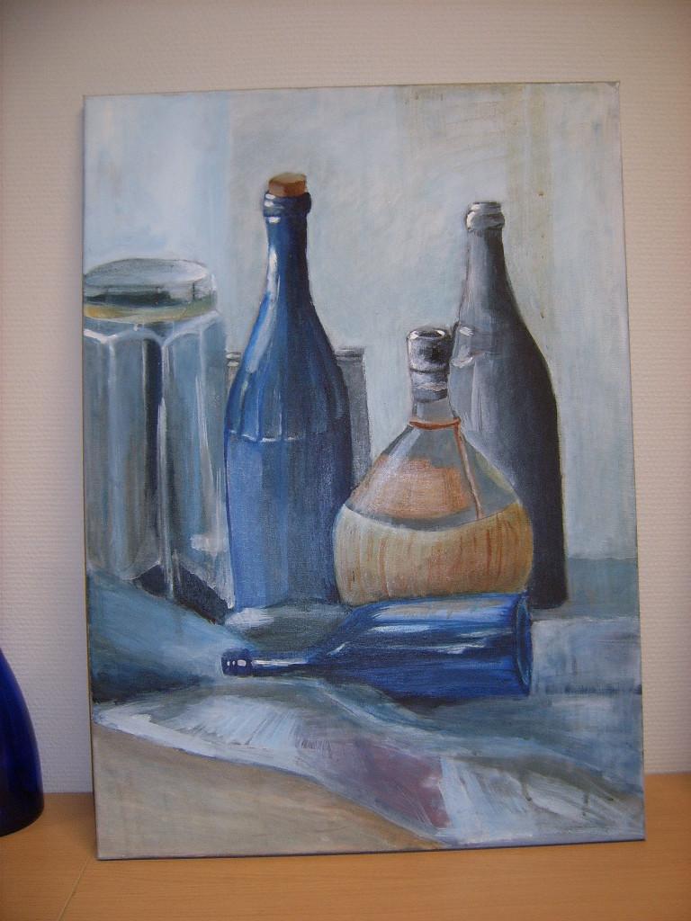 Stilleven van flessen (olieverf op doek)