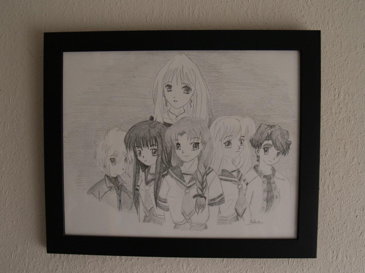 Manga zelfportret (tekenpotlood op wit papier)