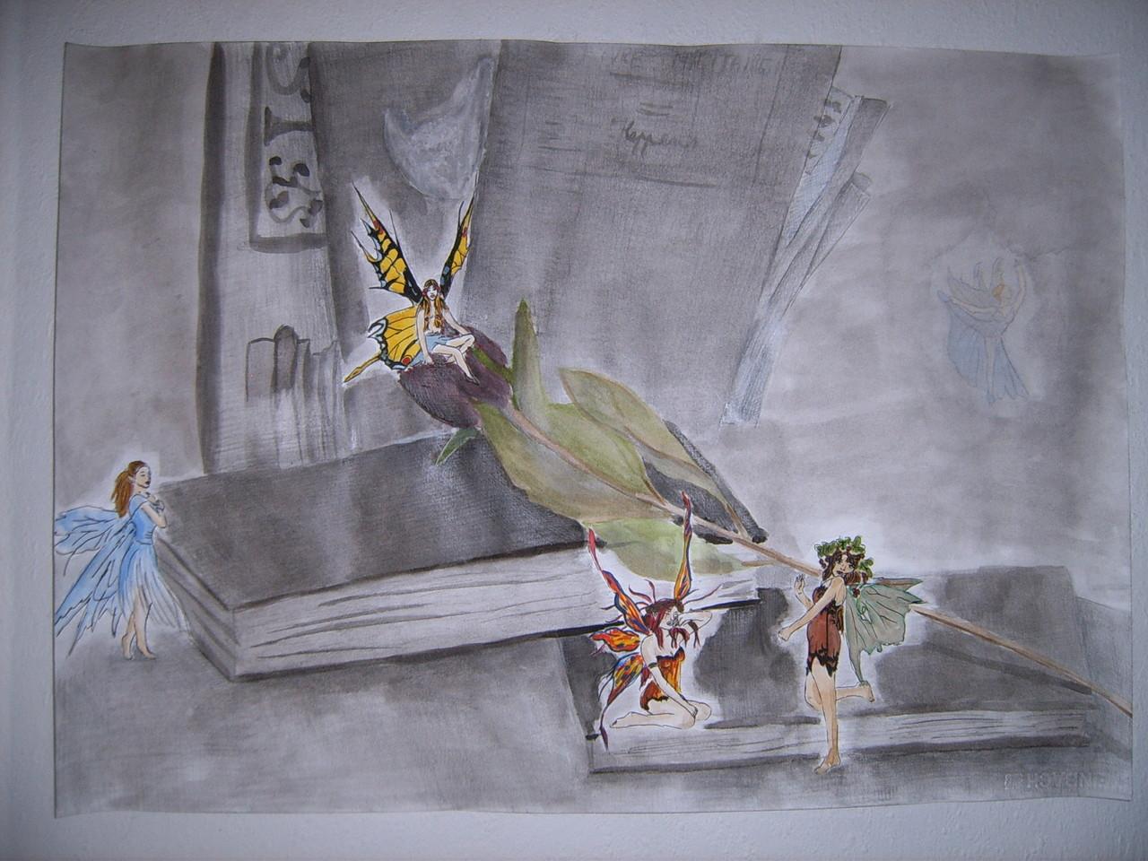 Elfjes in de bib (aquarel, houtskool, tekenpotloden, oost indische inkt op wit papier)