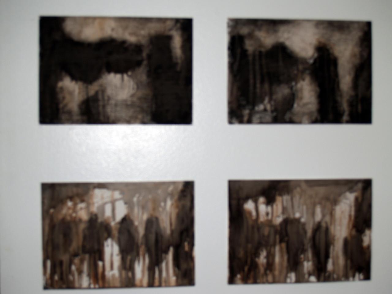 Abstract vluchtigheid (houtskool, bister, oost indische inkt op wit papier)