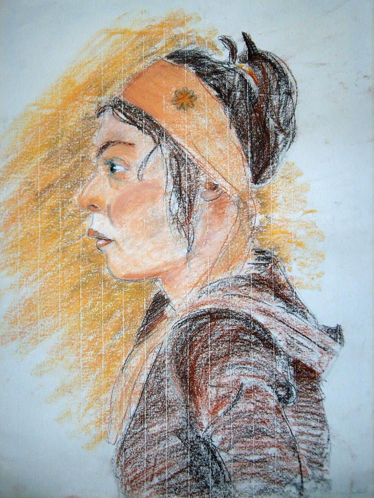 Portret van een vriendin (pastelkrijt op wit papier)