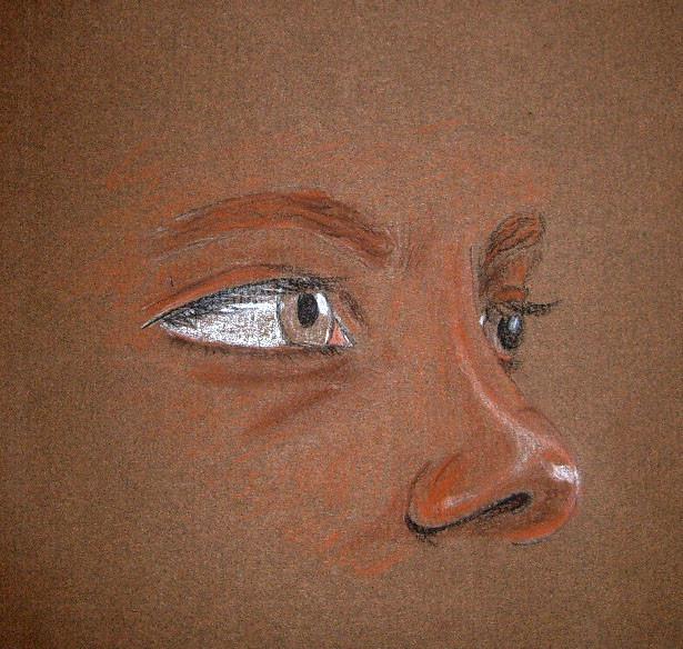 Ogen en neus (comptépotloden op bruin papier)