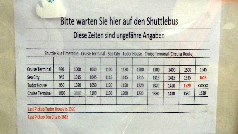 Shuttlebus-Fahrplan vom Terminal zum Museum