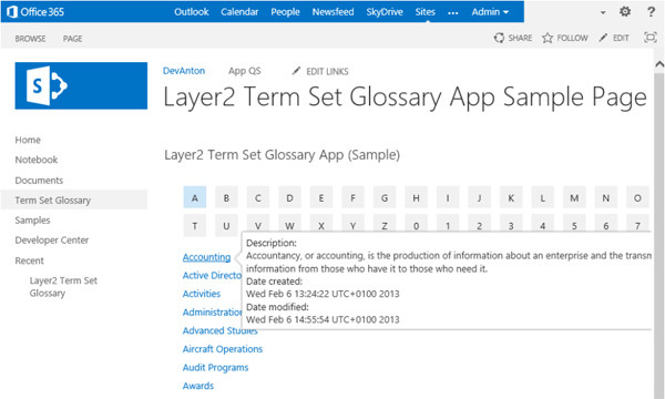 Fig.: Term Set Glossary App as offered in the SharePoint App Store (Sample Configuration)