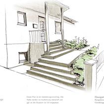 Planung Eingang, Treppe, Portal für Einfamilienhaus. Coypright Hennings! Gartenbau Vierhusen