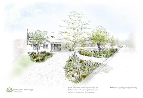 Gartenplanung - Ansicht von der Straße aus.