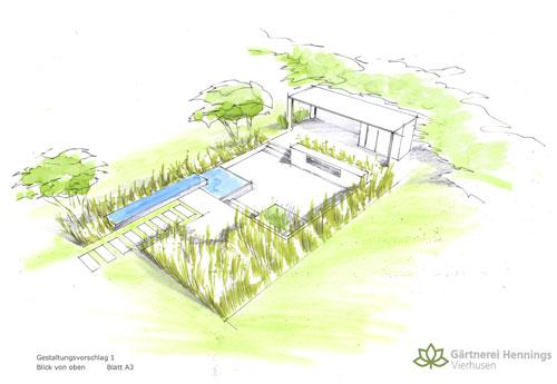 Terrasse, Wege und Bepflanzung.