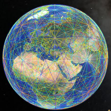 Grille magnétique terrestre selon des données géobiologiques